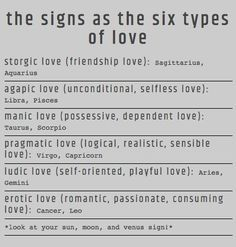 The 12 Zodiac Signs as the six types of love. Cancer ♋ Zodiac Sign