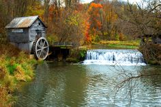 Nooit in Barneveld gespot :-) mm-->Hyde Water Mill, Barneveld, WI Old Grist Mill, Water Mill, Old Barns, Le Moulin, Covered Bridges, Old Buildings, Fall Photos, Adventure Is Out There, Country Life