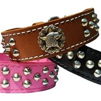 American Pride Studded Leather Dog Collar - Tapered