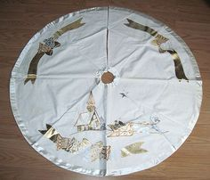 Vintage Christmas Tree Skirt ~ White Linen w/ Gold Applique Church and Couple Riding in Horse Drawn Sleigh