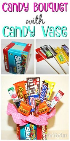 This is a guide about making a candy bouquet with candy vase. You can save money by making your own custom candy bouquet and vase for a special gift.