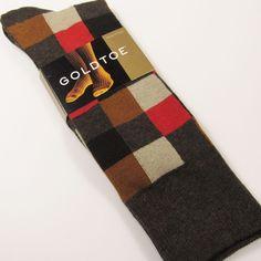 GOLD TOE Men's Patchwork Plaid Dress Socks Cotton BROWN/TAN/CORAL O/S #GOLDTOE #Dress