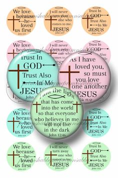 CHRISTIAN  Bottle Cap Images 1 Inch circle Digital Collage