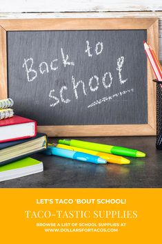 Get some taco-themed back to school swag for your student and teacher friends. #classroom #back2school #backtoschool #schoolsupplies #notebooks #pens #pencils #binders #laptop #lunchbox