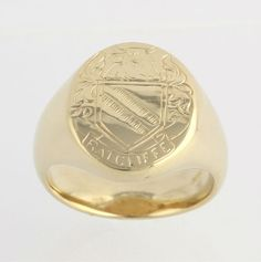 Signet Ring Ratcliffe Family Crest - 14k Solid Yellow Gold Vintage Coat of Arms