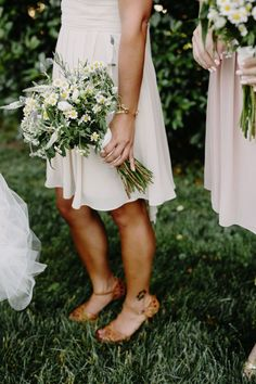 Organic bouquets tied with cloth and filled with wildflowers are always a good idea! #cedarwoodweddings Organic Minimalism :: Caprice+Steve   Cedarwood Weddings