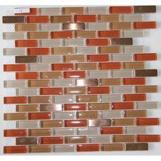 Red Eye - Brozne Metal Tile & Red, Orange, Beige Glass Tile - Amazon.com