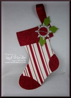 Holiday stocking die red and white