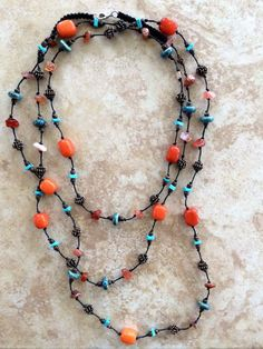 Long Boho Necklace Stone Necklace Copper Beads by FrancaandNen