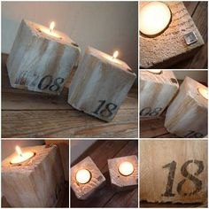 """Divert(Hijack) the """"feet"""" of a pallet in candle jar decoration! Undo a pallet, leak out with a flat drill (lock), insert a candle dish warmer, and give free rein to your imagination for the customization! #Blocks, #Candle, #Holder, #HomeDécor #Accessories, #RecycledPallets Pallet Crafts, Pallet Art, Wood Crafts, Diy Crafts, Pallet Ideas, Candle Jars, Candle Holders, Palette Diy, Pallet Creations"""