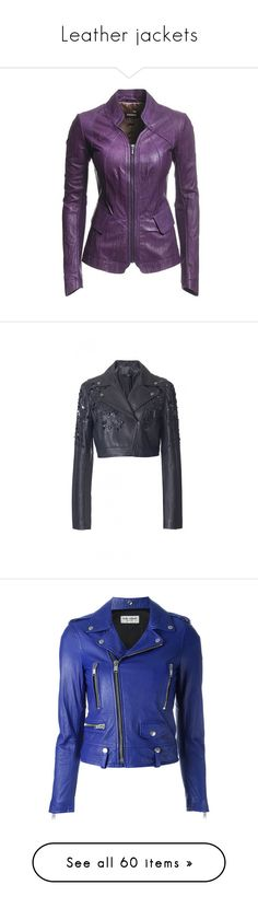 """""""Leather jackets"""" by thedancingdiamond ❤ liked on Polyvore featuring outerwear, jackets, coats, leather, leather jacket, danier jacket, purple jacket, leather jackets, leather blazer jacket and purple leather jacket"""