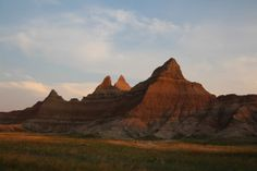 Evening sun changing the color of the rocks, South Dakota