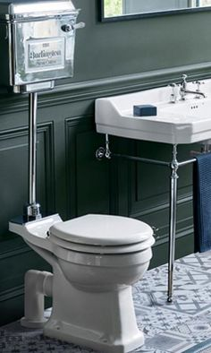 Burlington Low Level Toilet With Chrome Cistern And Soft Close Seat. Bathroom Ideas Uk, Small Bathroom Paint, Cloakroom Ideas, Bathroom Designs, Bathroom Inspiration, Downstairs Toilet, Basement Bathroom, Downstairs Cloakroom, Low Level Toilet