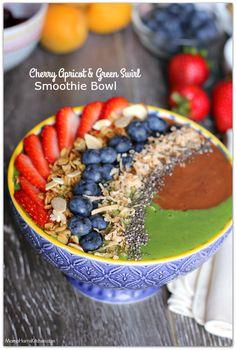 Cherry Apricot and Green Swirl Smoothie Bowl #CaciqueInstaSmoothie, #GoAutentico…