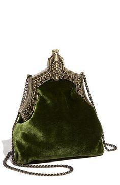 Silver and forest velvet handbag-House of Harlow 1960 'Rey' Velvet Pouch-(Nordstrom) Vintage Purses, Vintage Bags, Vintage Handbags, Green Purse, Green Handbag, Green Clutches, Beaded Purses, Beaded Bags, Womens Purses