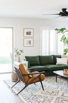 Caramel brown with green is such a pretty combination for a living room. Brown And Green Living Room, Sage Living Room, New Living Room, Living Room Sofa, Living Room Decor Green Couch, Green Living Room Ideas, Grey Living Rooms, Living Room Plants, Living Room Color Schemes