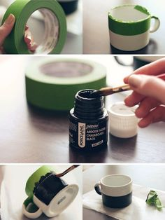 Make your own chalkboard coffee mug  http://witandwhistle.com/2011/12/14/diy-chalkboard-mug/