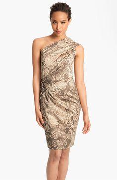 Eliza J Print One Shoulder Satin Sheath Dress | Nordstrom
