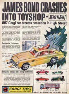 Vintage advertisement for Corgi Toys James Bond 007 Aston Martin James Bond, Childhood Toys, Childhood Memories, Gi Joe, Joe 90, Vintage Advertisements, Vintage Ads, Cinema Video, Bond Cars