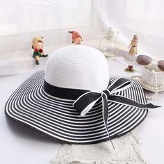 58983b059cf09 Hot Sale Fashion Hepburn Wind Black White Striped Bowknot Summer Sun Hat  Beautiful Women Straw Beach Hat Large Brimmed Hat