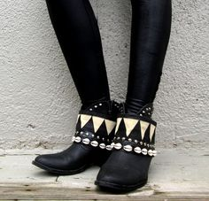 The Congo Crop Tribal Boot cuffs by LotusRootsCreations on Etsy
