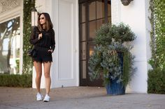 Blogger - Song of Style - lace romper by Ministry of Style