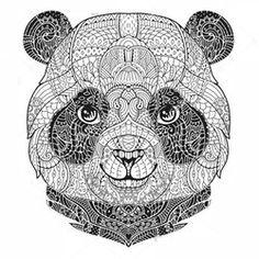 Animal Portrait In Zentangle Style For The Adult Anti Stress Coloring Book On White Background Ornamental Panda