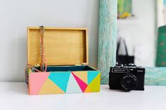 Pretty up your dresser with a bright geometric jewelry box.