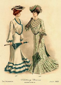 """Beatrice, your seaside ensemble is smashing, but don't you think wearing that giant oyster on your head takes it a bit far?"" The Delineator July 1902 