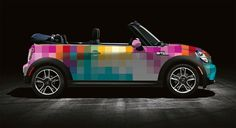 RobertReevesLaw.com | Here's a cute little mini with a pixelated paint job | Repin if your car is more than 1 color