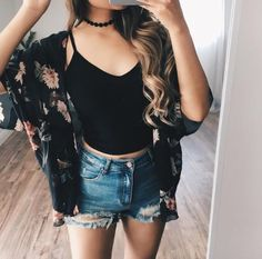 New Style Outfits Hippie Kimonos Ideas Cute Summer Outfits, Short Outfits, Outfits For Teens, Spring Outfits, Casual Outfits, Girl Outfits, Fashion Outfits, Womens Fashion, Kimono Fashion