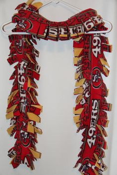 NFL San Francisco scarf fleece by TerrymadeEtsy on Etsy Fleece Crafts, Fleece Projects, Craft Projects, Craft Ideas, Craft Gifts, Cute Gifts, Holiday Gifts, Creative Crafts, Fun Crafts