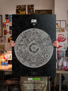 A Beautiful Poster Of The Lost Blueprint Of The Death Star - DesignTAXI.com