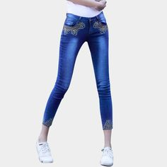 Available Now on our store:  Women Skinny Jean... Check it out here ! http://mamirsexpress.com/products/women-skinny-jeans-mid-waisted-blue-with-diamonds-jeans-sexy-tight-sequin-quality-stretchy-slim-femme-skinny-denim-ankle-length?utm_campaign=social_autopilot&utm_source=pin&utm_medium=pin