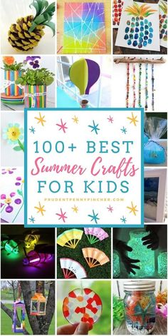 Give your kids hours of fun all summer with these creative summer crafts. There are over a hundred ideas to choose from. There's a wide variety of easy and fun crafts for children of all ages. To make Crafts For Teens To Make, Summer Crafts For Kids, Summer Activities For Kids, Crafts To Do, Diy For Kids, Kids Crafts, Spring Crafts, Summer Ideas, Kindergarten Crafts Summer