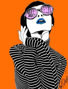 "Saatchi Art Artist Belinda Colozzi; Drawing, ""Stripes and Sunnies Pixie III"" #art"