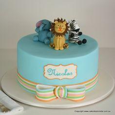 animal birthday cake | ... 8361 jungle animals christening cake pink damask birthday cake with