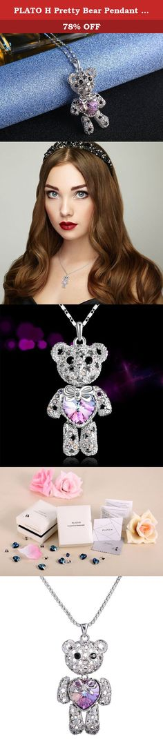 """PLATO H Pretty Bear Pendant Necklace with Swarovski Crystals Valentine's Day Gift for Her, Purple , 18"""". Product Features - Material: Crystals from Swarovski and rhodium plated alloy - Color: Purple Blue - Design: stylish Maintenance Instruction - Due to jewelry's characteristics, it must not be exposed to high mechanical and chemical stress - Light dust can be easily removed with a clean, dry, antistatic cloth. It will come with a piece of specially designed jewelry cloth - May not…"""