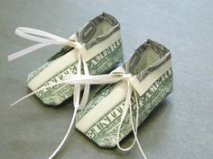 money origami baby booties.  Cute as decor and then Mommy can take home.  :)