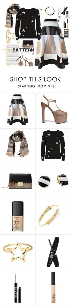 """""""Stars and shapes and logos, oh my!"""" by riquee ❤ liked on Polyvore featuring Hussein Bazaza, Gucci, Chinti and Parker, Kate Spade, Marni, NARS Cosmetics, Tory Burch, Adina Reyter, Rimmel and Urban Decay"""