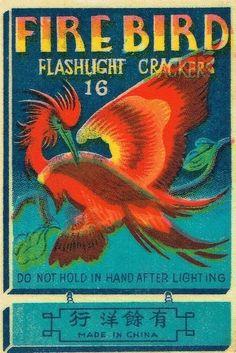 Fire Bird vintage kitsch advertising