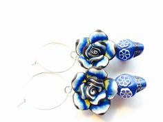 Day of the Dead Sugar Skull Earrings in Blue with by PennysLane