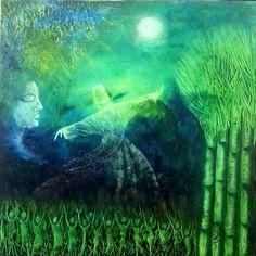 Rumi - Beauty of the Moon by Zahid Iqbal | #painting #resim #sanat #artgallery #contemporary #akrilik #acrylic #tablo #eser #mevlana #rumi #felsefe