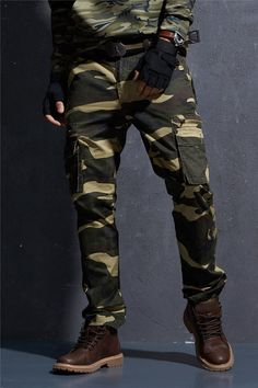 6d8846011d Camo Pants For Men Military Style Tactical Cargo Pants Army Camouflage  Straight Trousers Multi Pocket Camo Joggers - 2 Colors