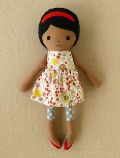 Soft Fabric Doll  Flower Dress and Gray Leggings by NerdieDolls, $35.00