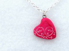 Red Magenta Lace Heart Charm Necklace,  Polymer Clay Jewelry, Small Pendant by neiceysclaythings on Etsy