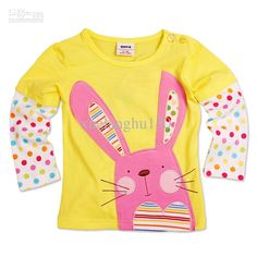 NX1413 # Nova kid wear baby girls spring autumn bunny appliqued long sleeve t-shirt primer shirt with $5.43-6.9/Piece|DHgate