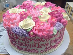 Lovely words cake for a bday celebration from the white flower cake shoppe Homemade Birthday Cakes, Adult Birthday Cakes, Birthday Cakes For Women, 75th Birthday, Cake Cookies, Cupcake Cakes, Fun Cakes, Beautiful Cakes, Amazing Cakes