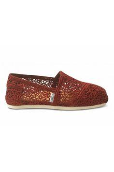 Toms Red Crochet Women's Classics Shoes Sale