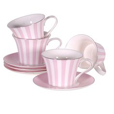 Candy Stripe Cups and Saucers - Pink (set of 4)